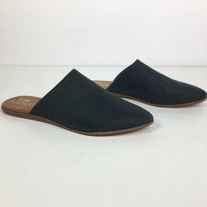 Toms Jutti Black Nubuck Leather Mule Flats